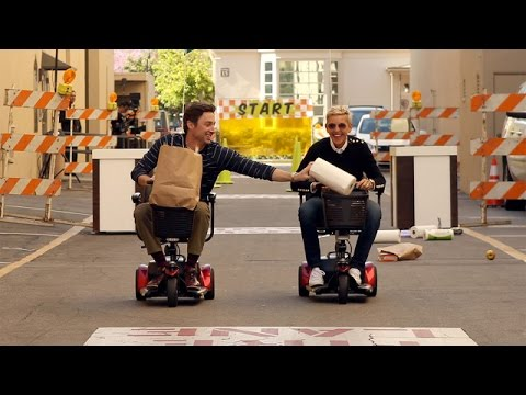 Ellen and Zach Braff's Scooter Scurry