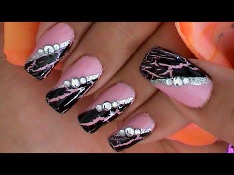Crackle Nail Polish Effects Nail Art Design Tutorial - YouTube