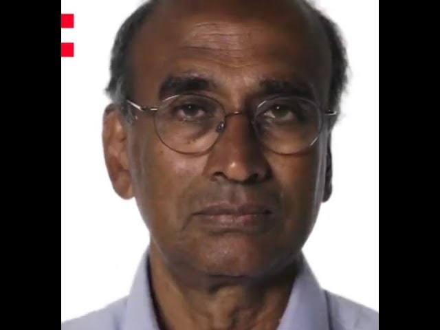 Frame of a video of Venki Ramakrishnan speaking about the Bloodcube project
