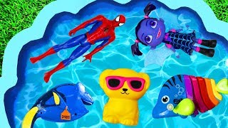 Pool of Toys - Learn Characters with Pj Masks, Super Heroes, Animals, Dory and Disney Toys
