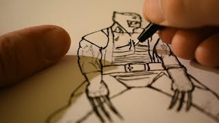 Drawing Wolverine from X-Men - ASMR - Whispering/ Sketching Sounds