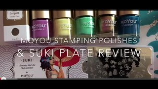 MoYou London stamping polishes + Suki Plate 02 - Review & swatches over black polish