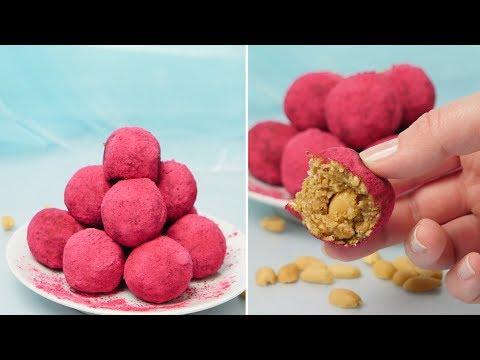 Peanut Raspberry Energy Bites / Bliss Balls / Energie Kugeln / Energy Balls