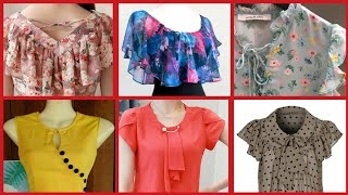 Stylish Sheffon Tops Neckline Designs For Girls