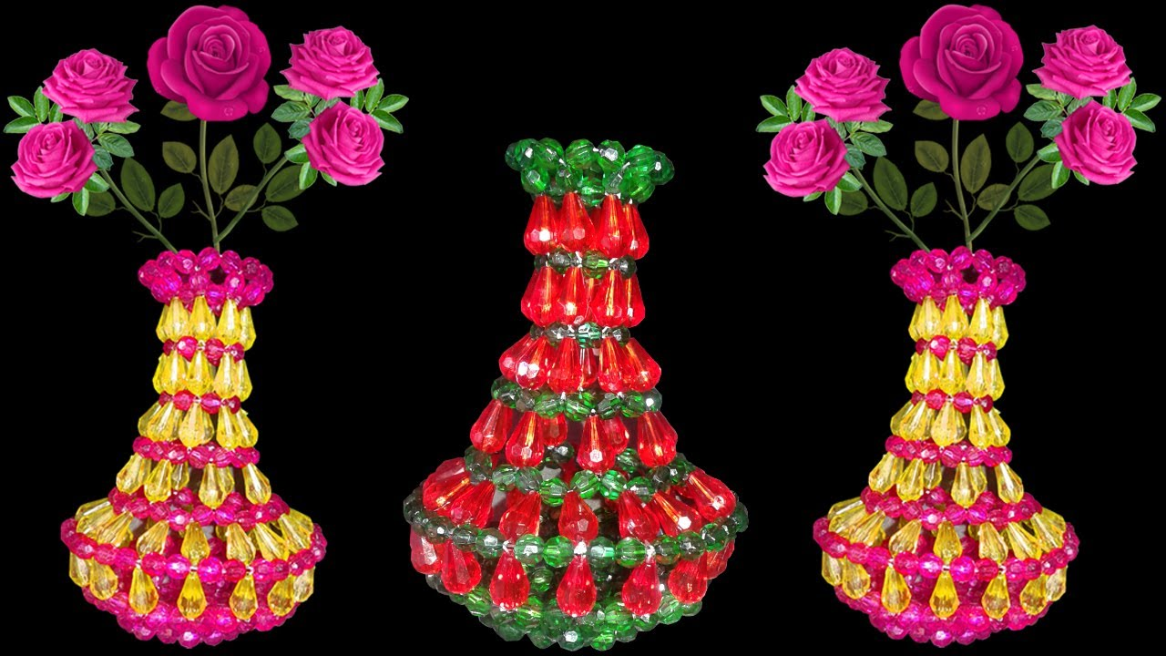 Diy flower vase how to make flower vase at home beaded flower diy flower vase how to make flower vase at home beaded flower vase easy diy crafts reviewsmspy