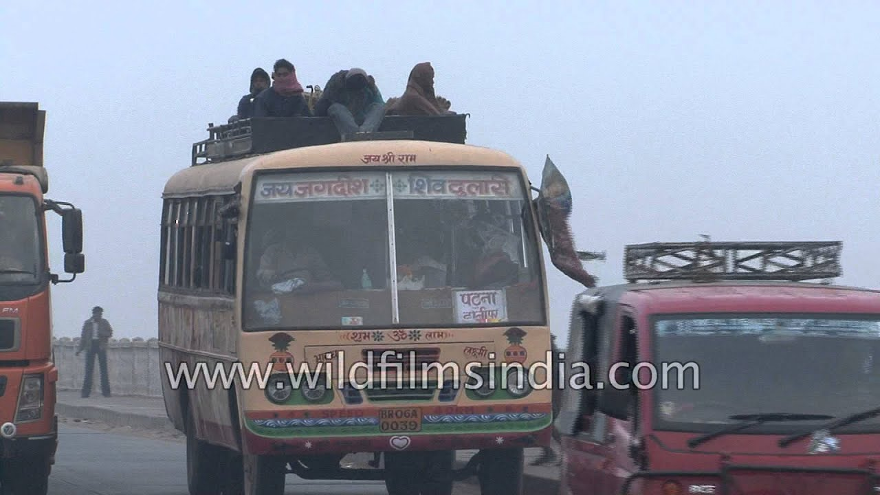 overloaded bihar roadways bus: india - youtube