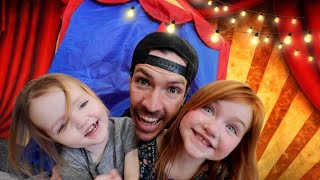 SURPRiSE CARNiVAL for Adley & Niko!!  Dad makes cardboard games with mini toys the family can win!