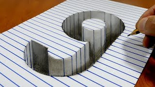 Draw a number 9 Hole on Line Paper   3D Trick Art
