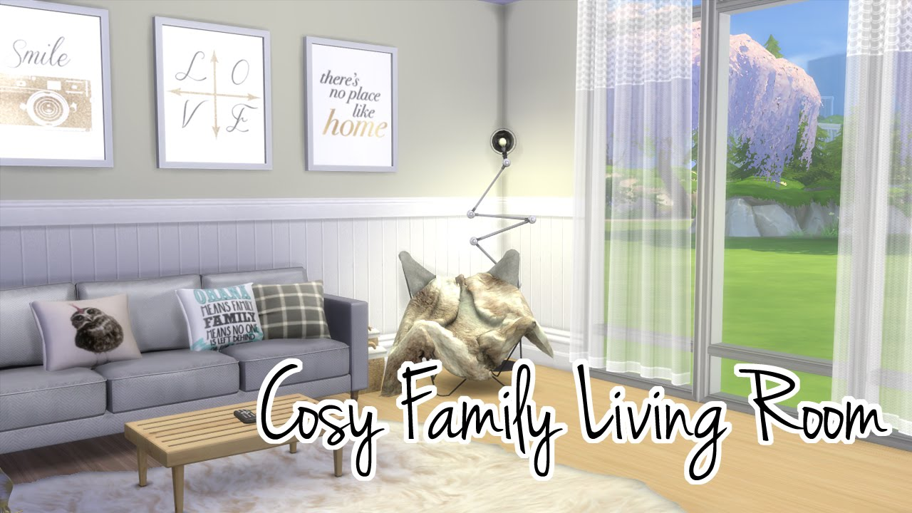 The Sims 4 Room Build | Cosy Family Living Room - YouTube
