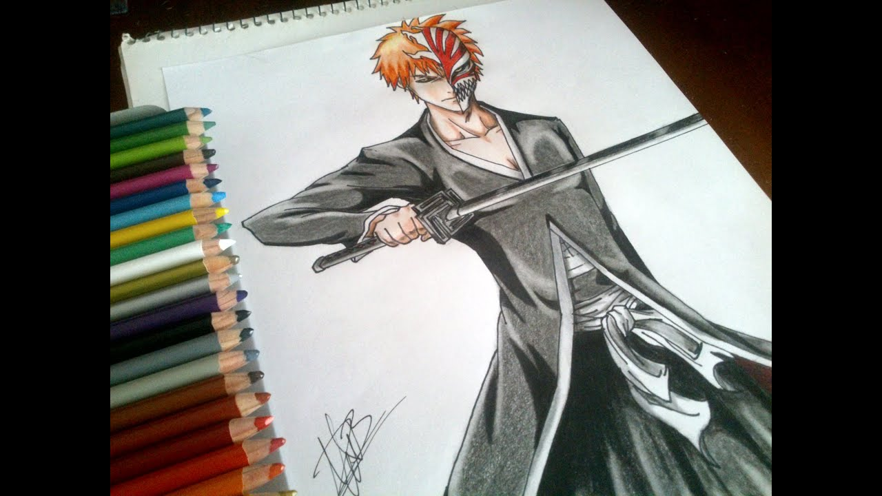 Dibujando a Ichigo de Bleach Speed drawing Ichigo from Bleach