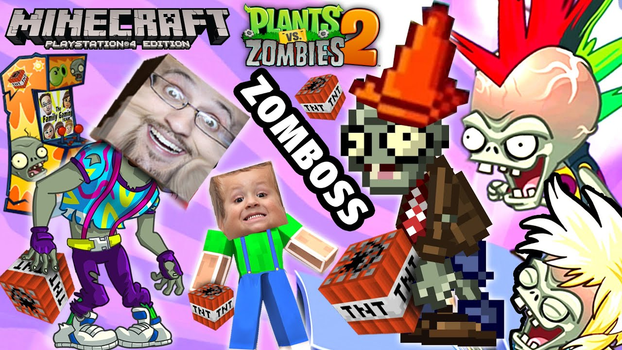 Minecraft TNT Explosion + PVZ Neon Mixtape Tour ZOMBOSS Battle (FGTEEV Duddy & Chase Gameplay)