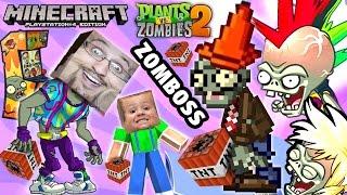 Minecraft TNT Explosion + PVZ Neon Mixtape Tour ZOMBOSS Battle (FGTEEV Duddy & Chase Gameplay)