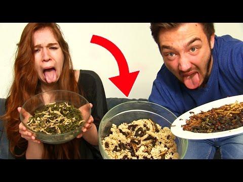 DEGUSTATION D'INSECTES GÉANTS en COUPLE !! Des pâtes aux insectes dégueulasse !