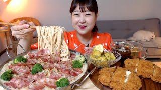 소스 듬뿍 크림파스타와 바삭한 치즈돈까스 수제피클 먹방…