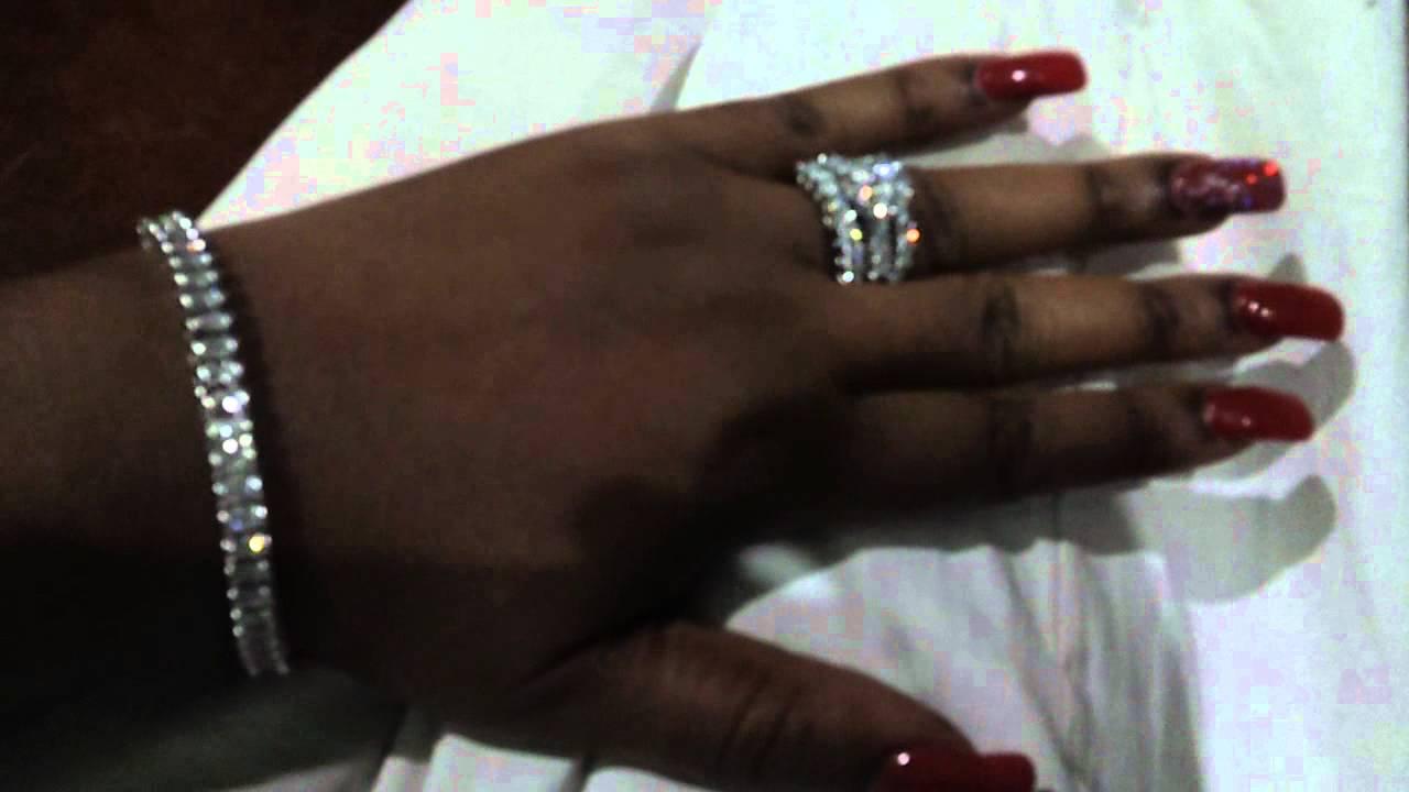 RED NAILS AND NEW DIAMOND RING BLING BLING - YouTube
