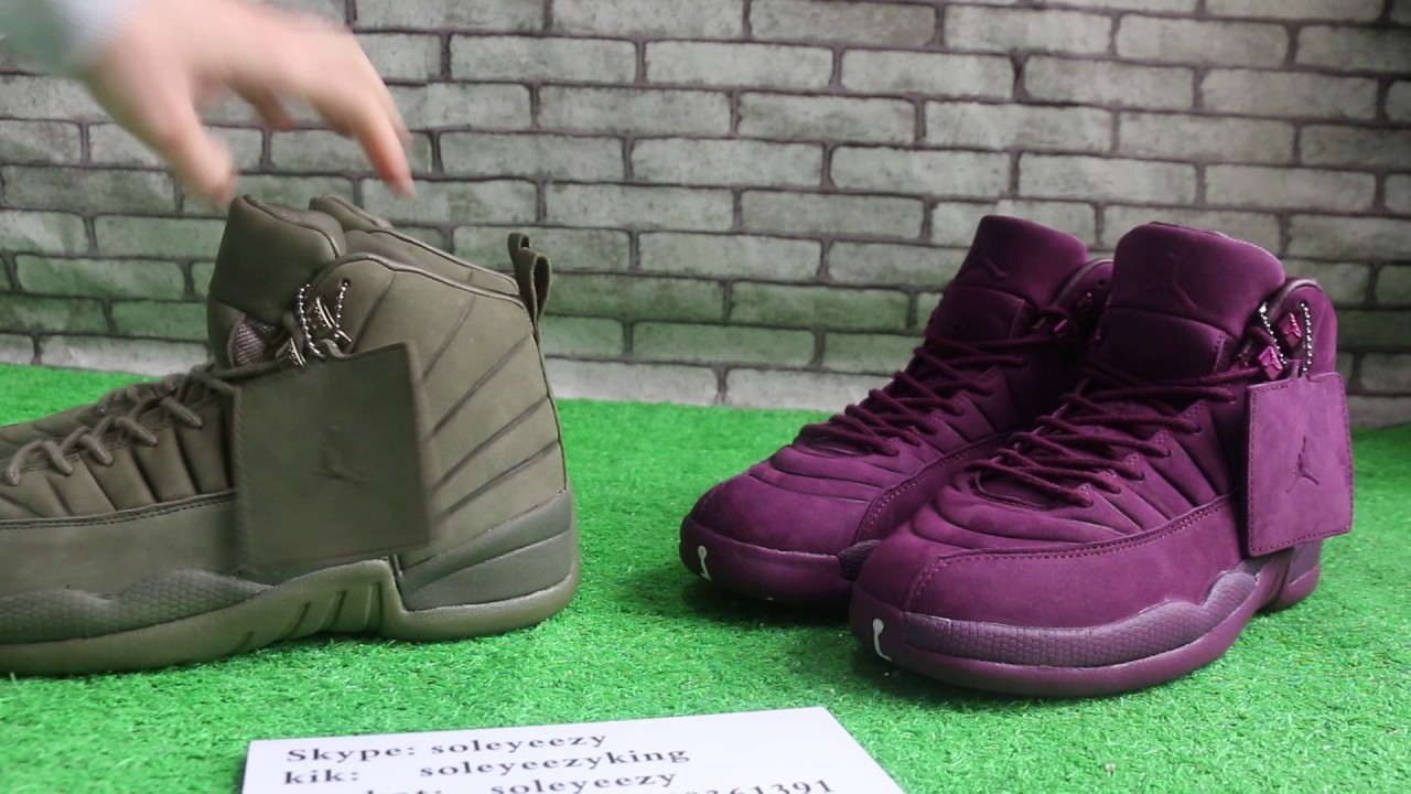 b6fe4c12a2d4 PSNY x Air Jordan 12 Olive vs Burgundy HD Review - YouTube