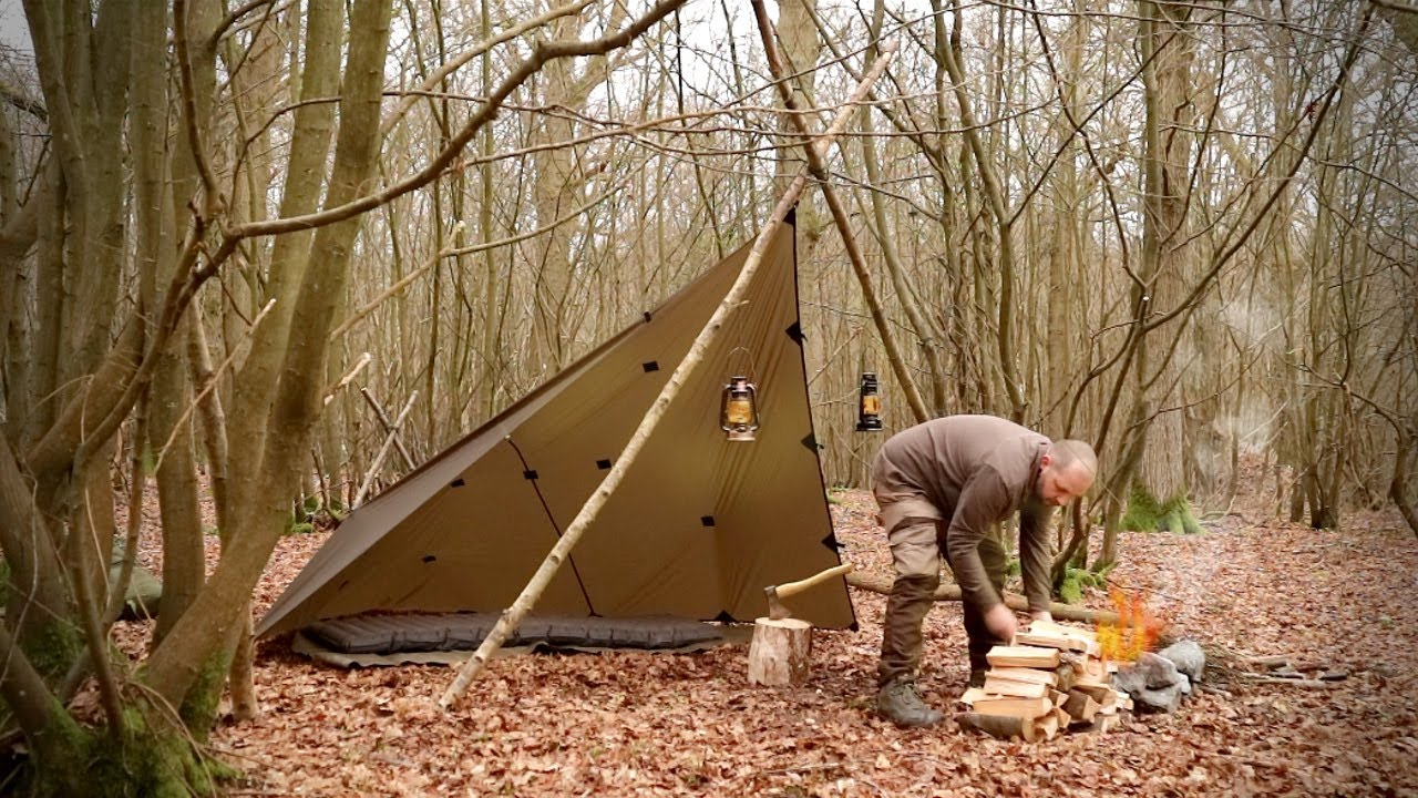 Bushcraft Overnighter, Tarp Camping - Bi-pod Plough Point - spoon carving