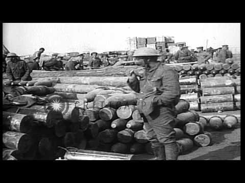 French West African Colonial troops working in ammunition dump during World War I HD Stock Footage