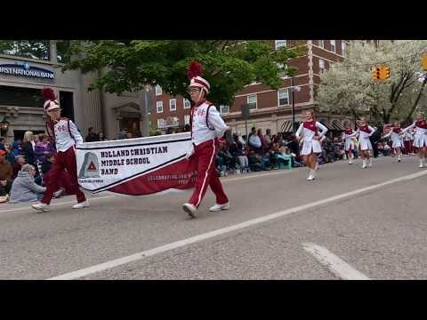 Holland Christian middle school marching band at Tulip time parade. May-11-2019 Holland, Michigan