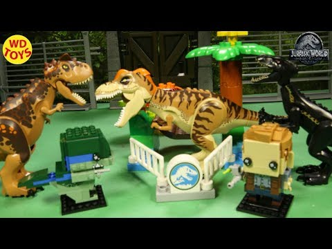 New T-Rex Vs Owen Jurassic World Dinosaur Zoo Fallen Kingdom  3 Lego  Sets Stop-Motion Unboxing