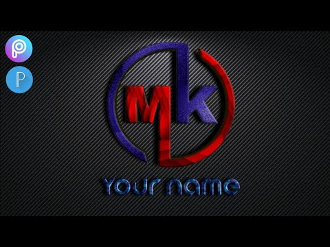 M K logo design /How to make logo with picart and pixel lab tutorial(HD)