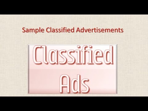 Classified Advertisement Samples - CBSE Class XI, Class XII English