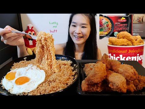 Jollibee & Filipino Noodles Hot Chili Pancit Canton Chow Mein – Spicy Noodles & Chicken Mukbang Asmr