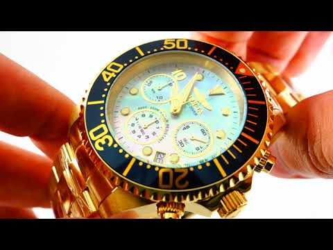 Invicta Grand Diver 22040 Mother of Pearl Gold Plated Watch