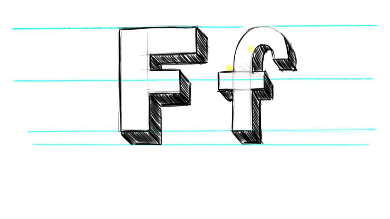 how to draw 3d letters f uppercase f and lowercase f in 90 seconds youtube