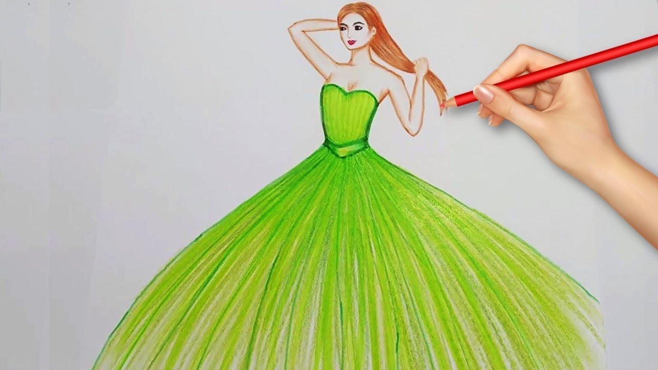 Easy Drawings How To Draw A Beautiful Dress Youtube