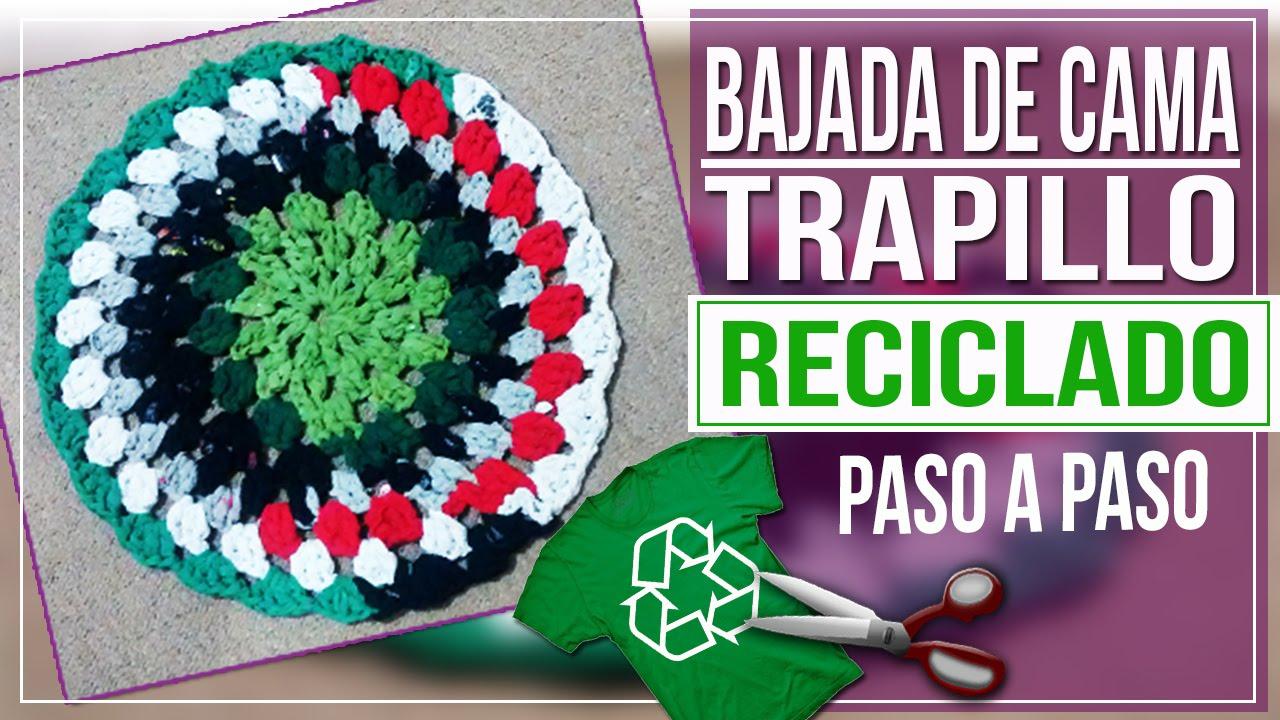 5cb8f28428c8f Bajada de Cama en Crochet Con Trapillo Reciclado - Tutorial Paso a ...