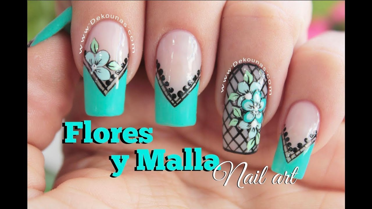 Diseno De Unas Facil De Flores Y Malla Flowers Nail Art Youtube