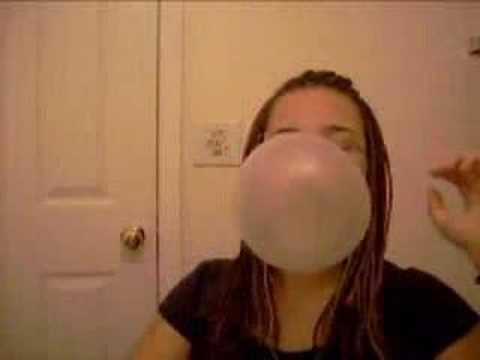 Entertaining question blowing bubble fetish gum woman