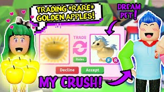 TRADING ONLY *GOLDEN APPLES* for 24 HRS... *CRUSH* SURPRISED ME WITH MY *DREAM PET* Adopt Me Roblox!