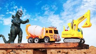 Godzilla devilish Attack Construction Car Toy | Excavator/ Cement Truck