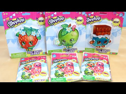 Shopkins Scented Erasers And Blind Bags Opening Toy