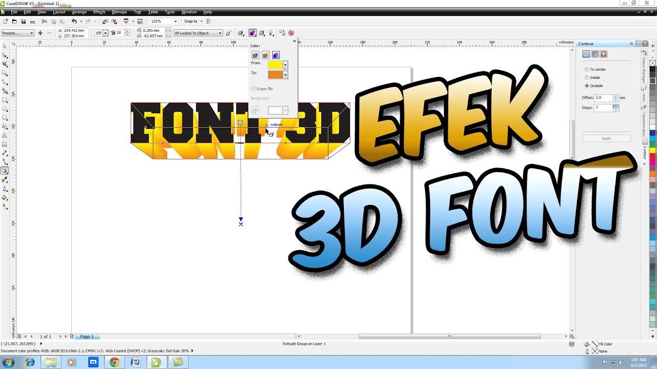 [ TUTORIAL CORELDRAW ] Cara Membuat Efek 3D Pada Font Di Coreldraw Bahasa  Indonesia