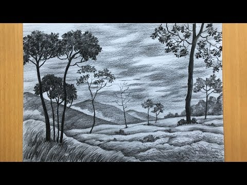 simple-landscape-drawing-in-pencil-|-draw-and-shade-a-scenery-|-pencil-sketch