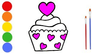 Glitter Cupcake coloring and drawing for kids and toddlers | Learn colors | ArtLand