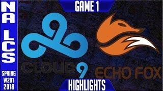 C9 vs FOX Highlights | NALCS Spring 2018 S8 W2D1 | Cloud9 vs Echo Fox Highllights