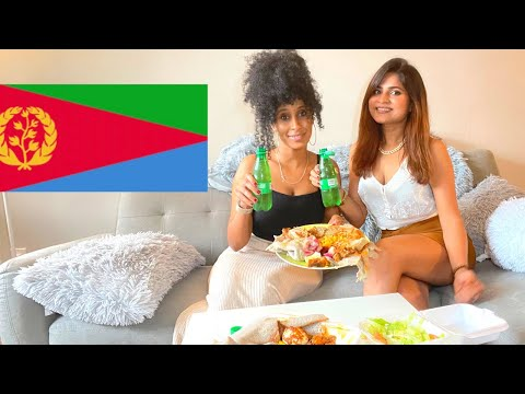 MY INDIAN FRIEND TRIES ERITREAN/ ETHIOPIAN FOOD FOR THE FIRST TIME *HILARIOUS + CHITCHAT #enjera