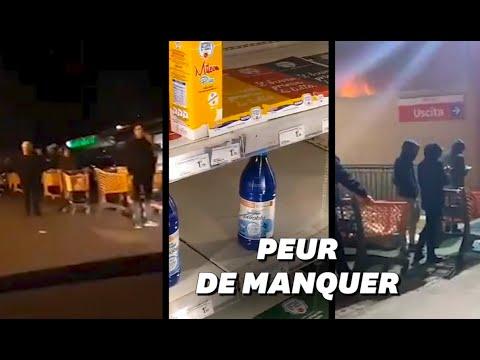 À Rome et à Naples, les images des supermarchés pris d'assaut par les habitants