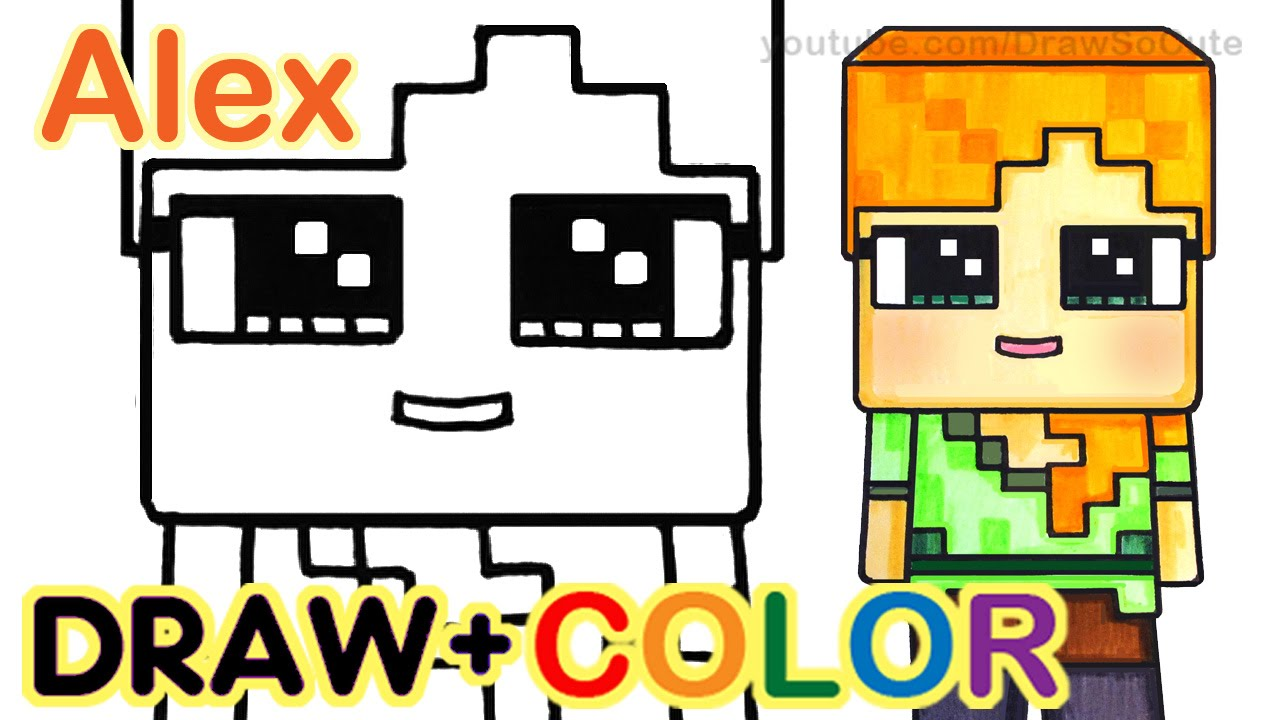 how to draw minecraft alex cute step by step youtube