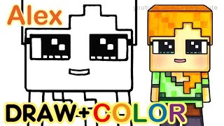 How to Draw Minecraft Alex Cute step by step