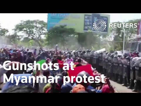 Gunfire heard during anti-coup protest in Myanmar