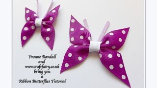 How to make a ribbon butterfly(How to make a ribbon butterfly tutorial To buy the ribbon used you will need to go to www.craftfairy.co.uk To see the bag that I decorated with the butterflies: ..., 2015-04-07T09:15:47.000Z)