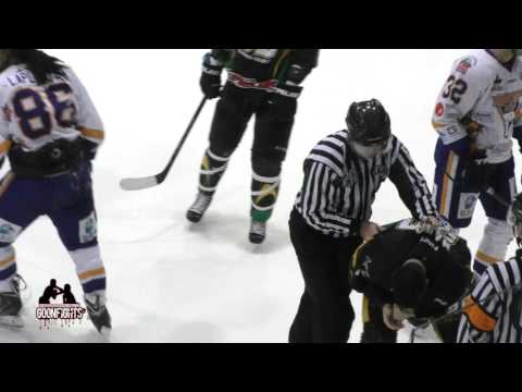 Eric Laplante DDT's Michael Ward head first Into the ice  Nov 27 2015 LNAH Laval Vs RDL