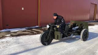 Moto Guzzi 600U. Test-drive on the snow.