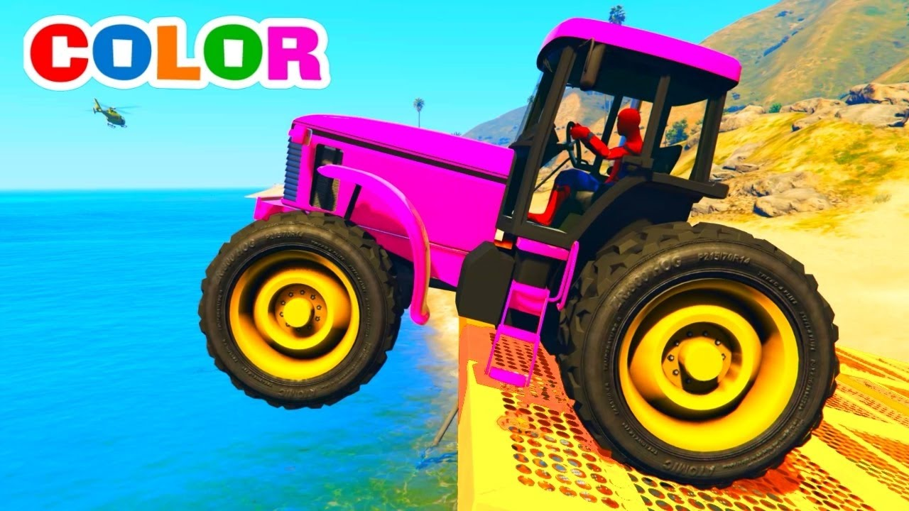 couleurs tracteur camion et voitures pour enfants avec spiderman et couleur hulk comptines