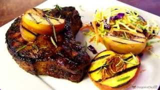 Grilled Pork Chops Recipe With Bourbon Peach Glaze On The Weber Genesis Premium Gas Grill